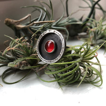 Load image into Gallery viewer, carnelian sterling silver ring handstamped pattern