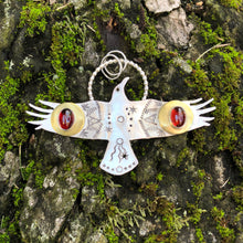 Load image into Gallery viewer, Sterling Silver, brass and garnet crow totem pendant necklace