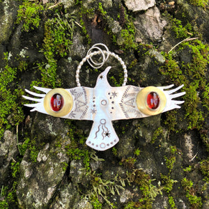 Sterling Silver, brass and garnet crow totem pendant necklace