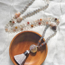 Load image into Gallery viewer, Handmade rutilated quartz and grey moonstone mala necklace from Crow Totem Arts