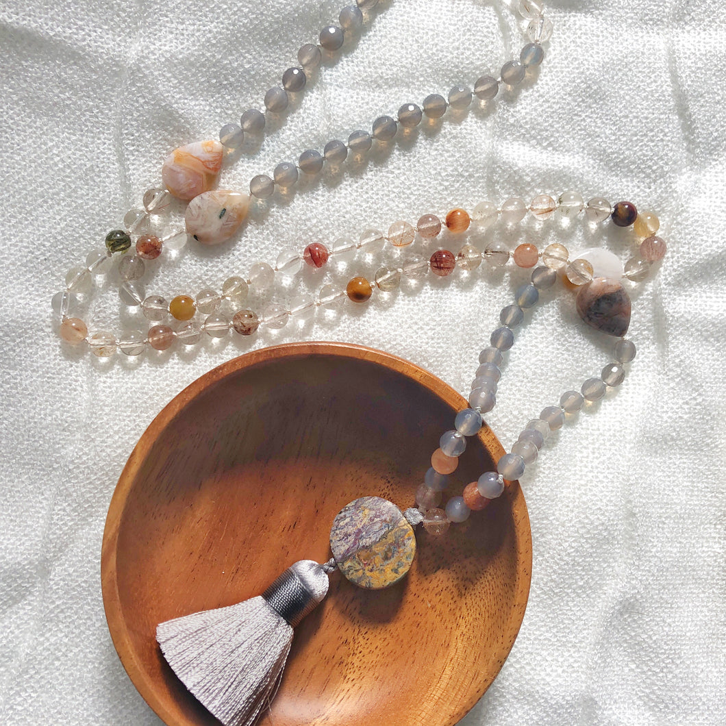 Handmade rutilated quartz and grey moonstone mala necklace from Crow Totem Arts