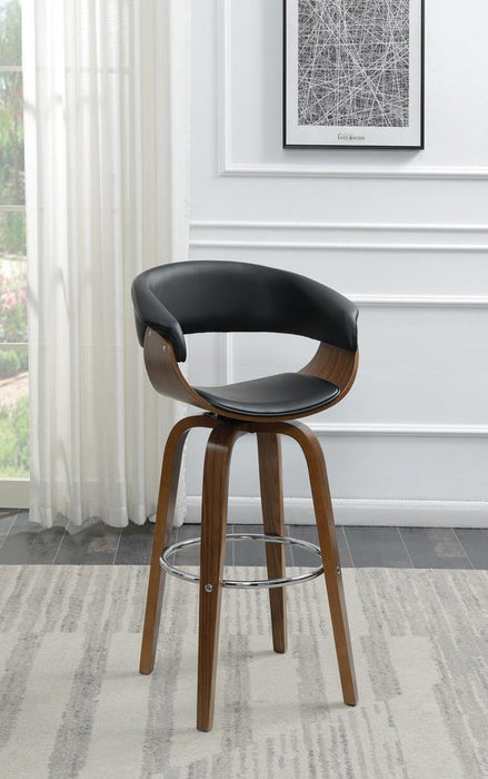 G100205 Contemporary Walnut and Black Bar Stool image