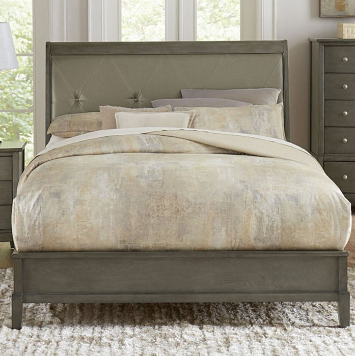 Homelegance Cotterill Queen Upholstered Sleigh Bed in Gray 1730GY-1 image