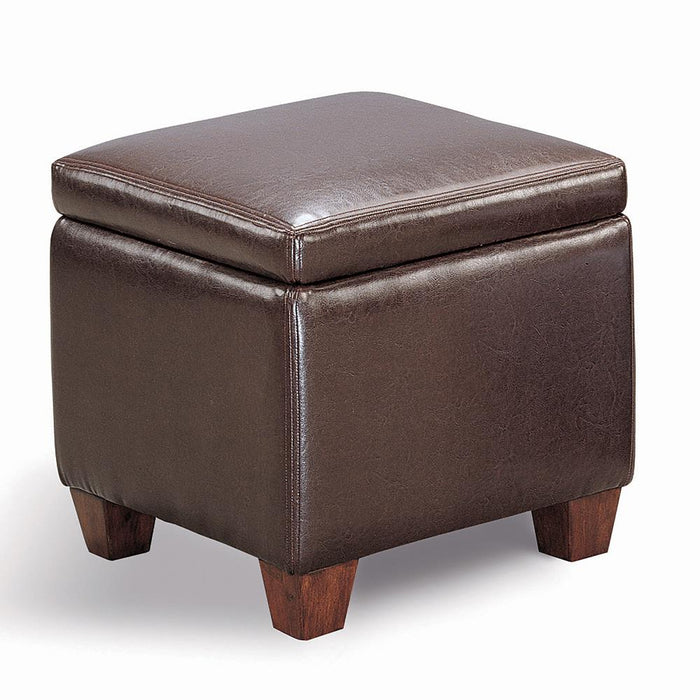 Causal Brown Storage Ottoman image