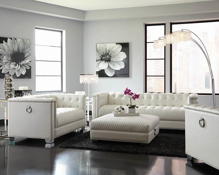 Chaviano Contemporary White Three-Piece Living Room Set image