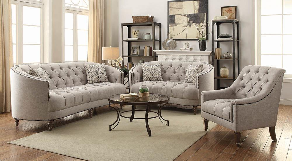 Avonlea Beige Three-Piece Living Room Set image