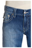 True Religion Men's Straight Flap Natural Big T Jeans