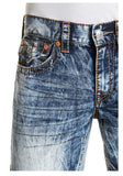 True Religion Straight Flap Old Multi Big T Jeans-Moving Water