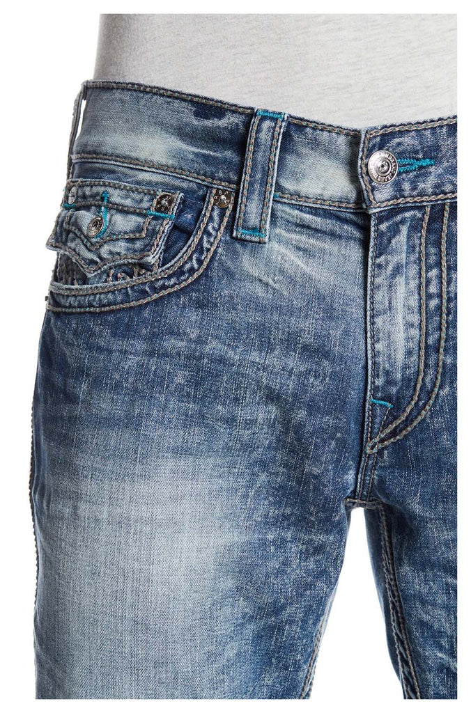 True Religion Men's Straight With Flap T Chainstitch Jeans
