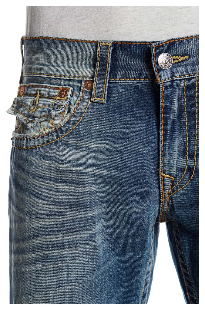True Religion Men's Fray Straight Distressed Flap Big T Jeans