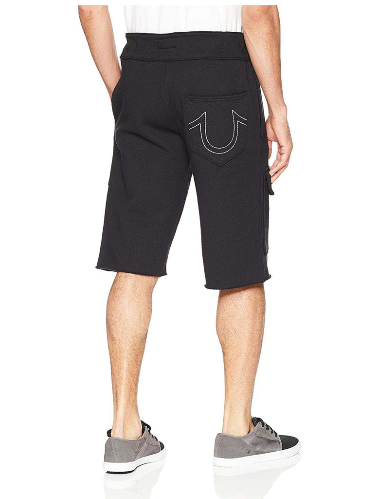 True Religion Men's Embossed Sweatshorts-Black