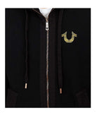 True Religion Men's Poplin Blocked Zip Hoodie-True Black