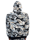 True Religion Men's Camo Printed Active Zip Hoodie-Grey Camo