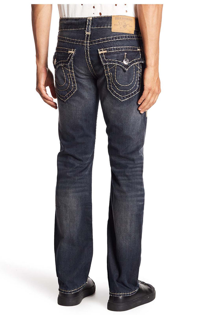 True Religion Men's Straight Flap Earthworm Jeans