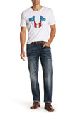 True Religion Men's Straight Flap With Red Denim Jeans
