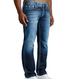 True Religion Men's Straight Flap Natural Denim Jeans