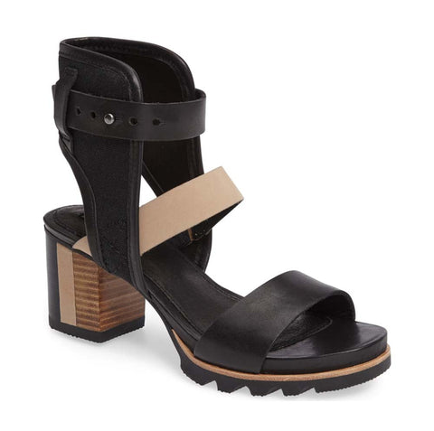 Sorel Women's Addington Ankle Cuff Sandal Heel-Black