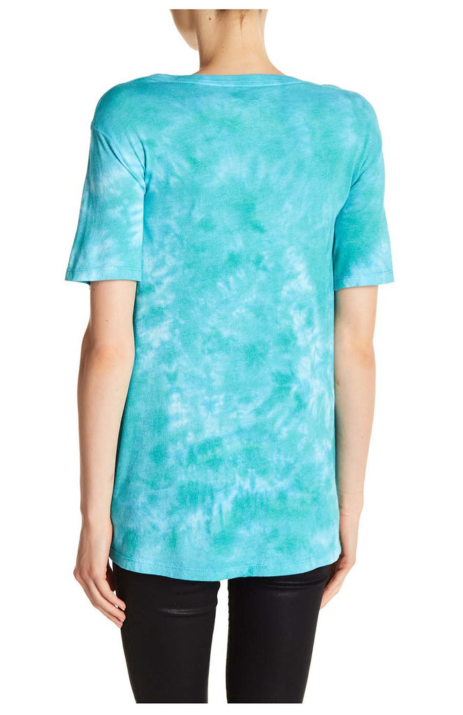 True Religion Women's Classic Buddha Relaxed Round V T-Shirt-Tropical Teal Tie Dye