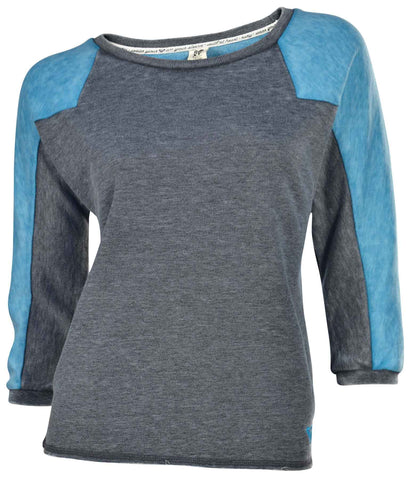 Roxy Juniors' On The Block Lightweight Sweatshirt-Dark Gray/Teal