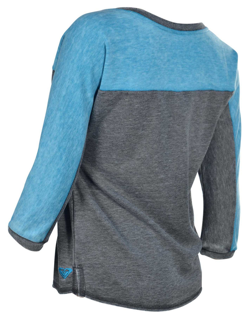 Roxy Juniors' On The Block Lightweight Sweater-Dark Gray/Teal