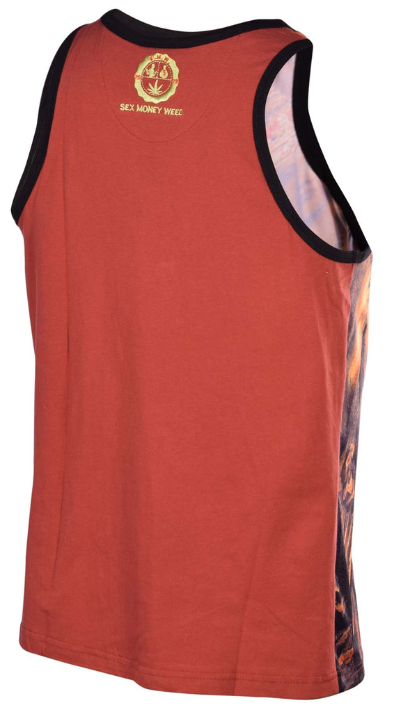 Sex Money Weed Men's Bros Over Hoes Sublimation Tank Top-Rust