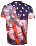 Double Needle Men's Screaming Eagle Sublimated T-Shirt-Multi-Colored