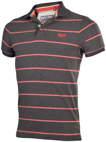 Superdry Men's Stripe Jersey Polo Shirt-Charcoal Marl