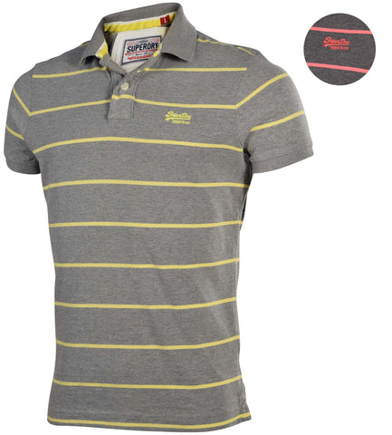 Superdry Men's Stripe Jersey Polo Shirt-Dark Marl