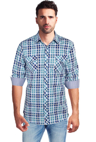 Age Of Wisdom Men's Plaid Western Style Shirt