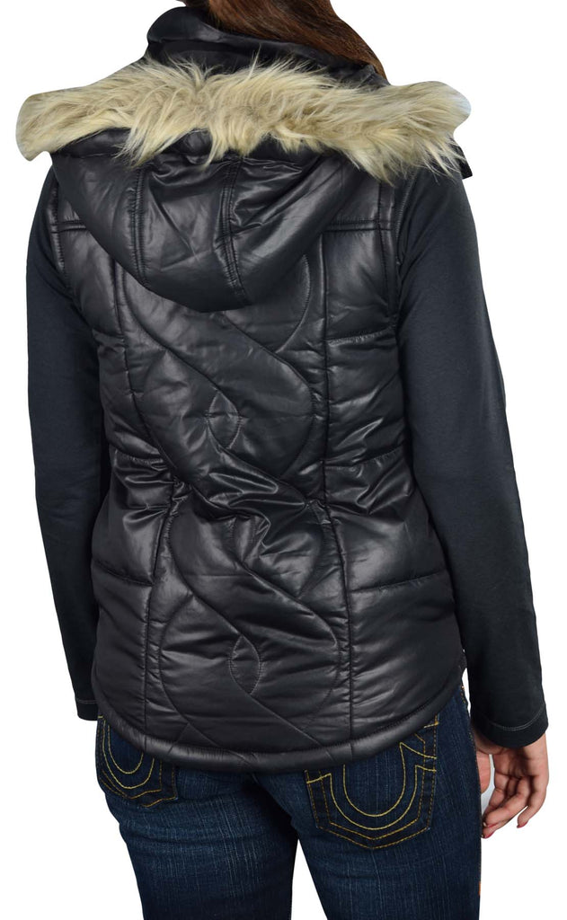 Vans Women's Fort Greene Hooded Puffer Vest-Black