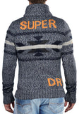 Superdry Men's Big Chief Zip Knit Sweater Jacket-Indigo Twist