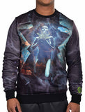 Sex Money Weed Men's Flying High Sublimation Crew Sweatshirt-Black/Multi