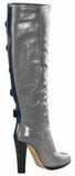 Reed Krakoff Women's Multi Buckled Leather Riding Boots-Gray/Teal