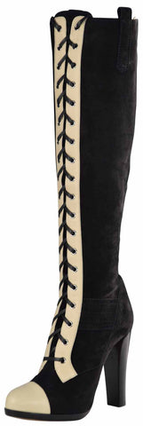 Reed Krakoff Women's Suede Knee High Lace Boots-Buff/Black