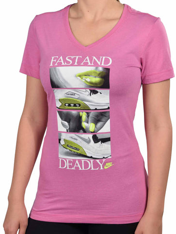 Nike Women's Fast And Deadly Air Max V-Neck T-Shirt-Pink