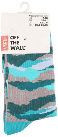 Vans Women's Off The Wall Camo Crew Socks-Camo/Teal