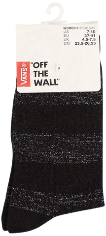 Vans Women's Off The Wall Metallic Stripe Crew Socks-Black/Metallic