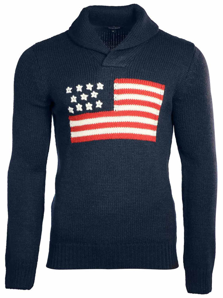 True Rock Men's American Flag Knit Long Sleeve Sweater-NavyBlue