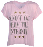 Element Juniors I Know you from the Internet T-shirt-Light Pink