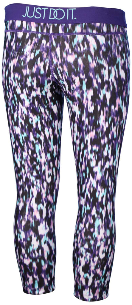 Nike Women's Dri-Fit Printed Relay Crop Running Tights-Violet/Multi