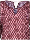 Lucky Brand Jeans Women's Woodblock Banded Top-Maroon