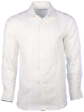 Mojito Collection Men's Linen Double Striped Front Core Roll Up Shirt