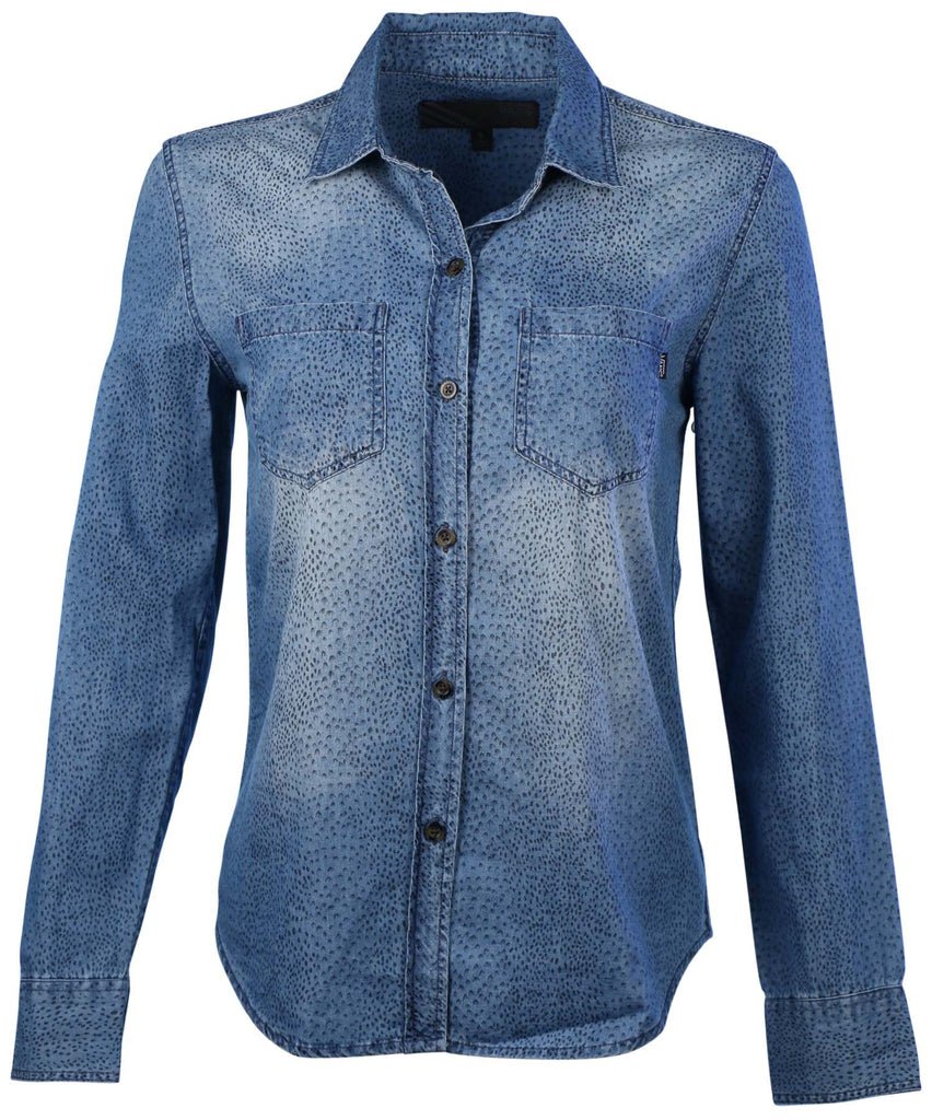 Vans Women's Monument Walk Long Sleeve Button Down Shirt-Denim