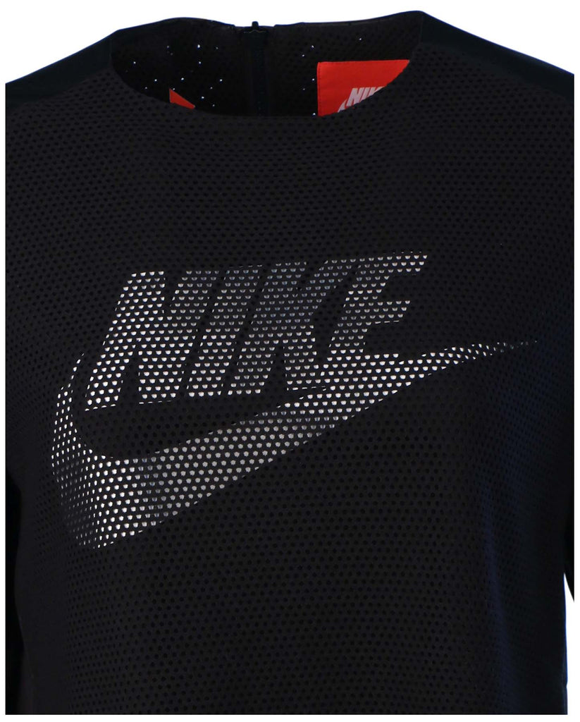 Nike Women's Sport Casual Perforated Crew Top-Black/White