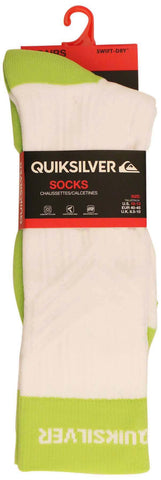 Quiksilver Compression Crew Socks-Neon Green/White