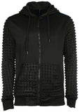 True Rock Men's Pyramid Textured Full Zip Hoodie-Black
