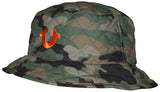 True Religion Unisex Quilted Reversible Camo Solid Bucket Hat-Camo/Orange