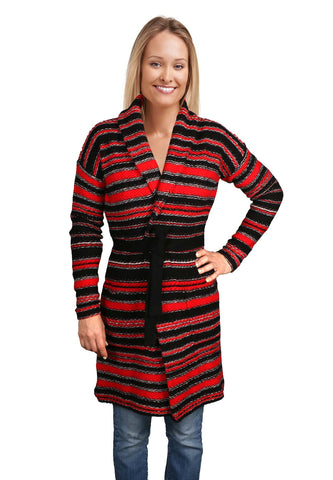 Lauren Ralph Lauren Women's Stripe Cardigan Sweater-Black/Red