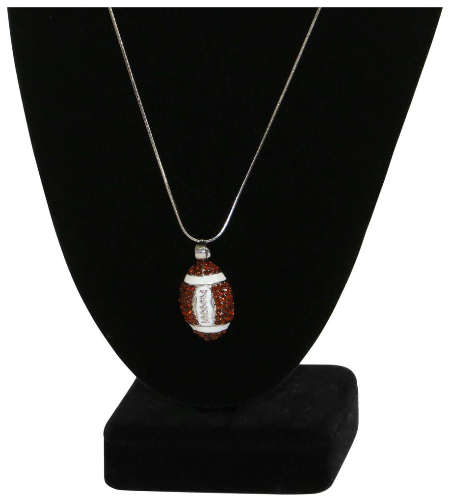9 Crowns Essentials Ole Womens Rhinestone Football Charm Necklace