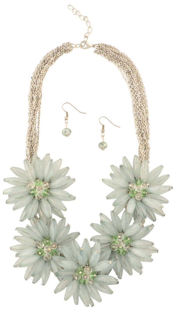 9 Crowns Essentials Ole Womens Flower Necklace 2- PC Jewelry Set - Celadon-OS